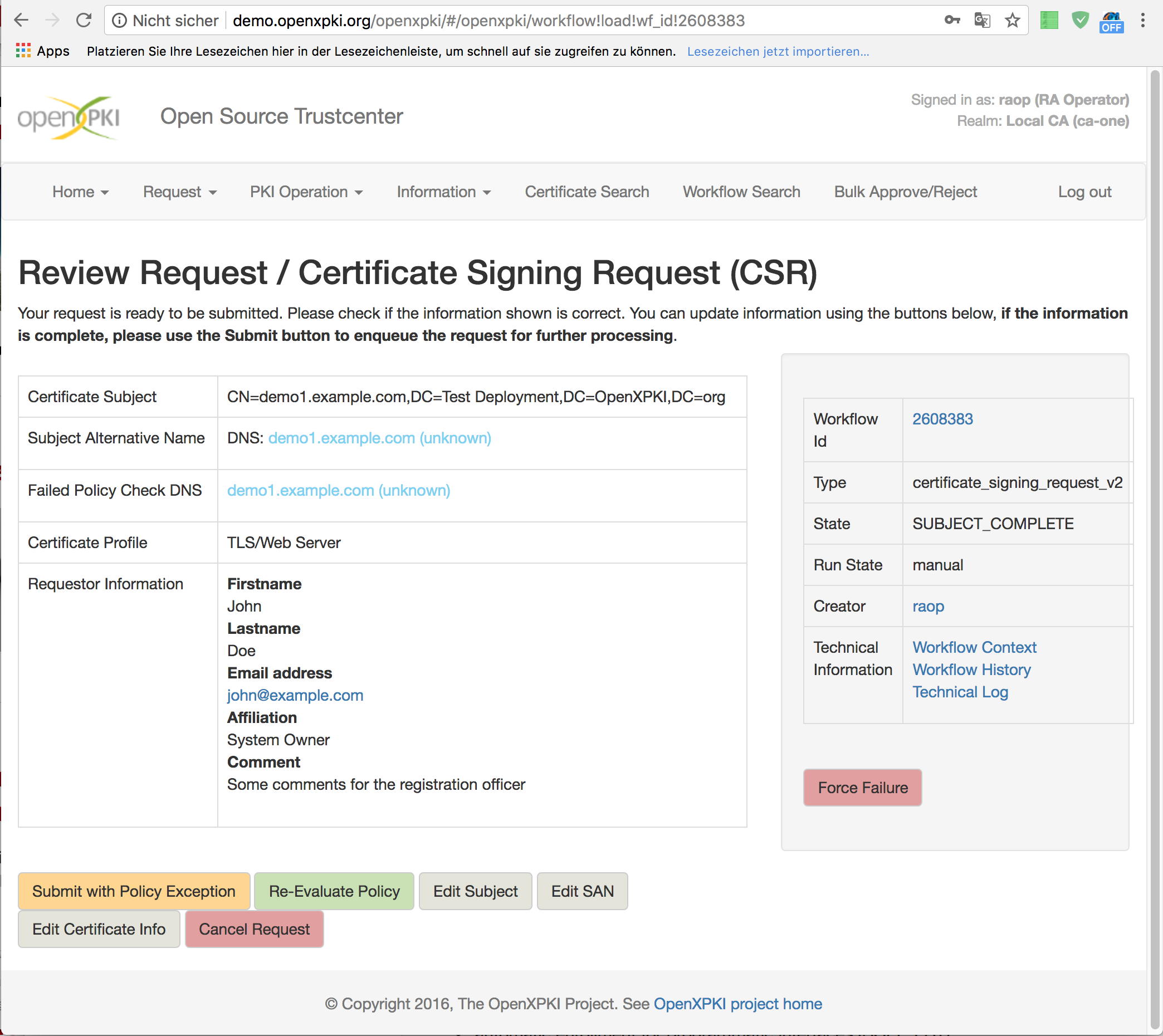 Certificate request submission screen